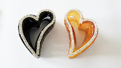 Heart Shaped Hair Claw Clips - brown or black