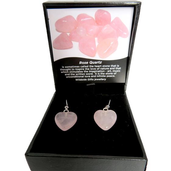 Heart shaped rose quartz earrings