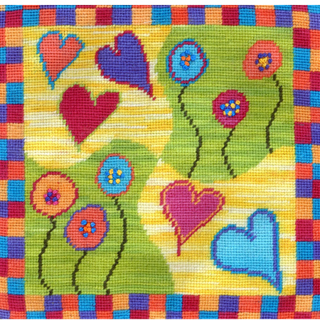 Hearts and Flowers Needlepoint Cushion Kit by Mary Self