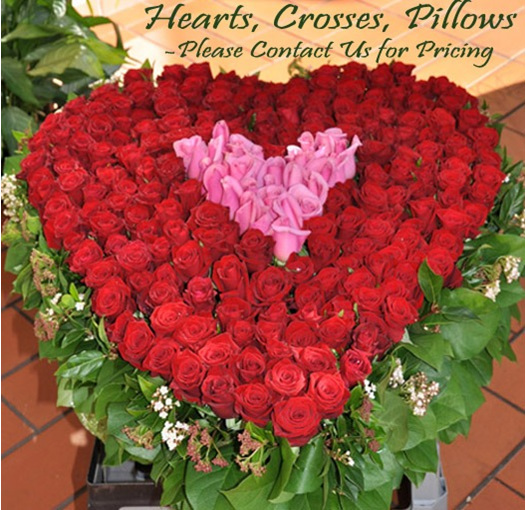 Hearts, Crosses, Pillow  Funeral Tributes please contact us for prices