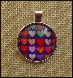 Hearts Glass Dome Key Ring