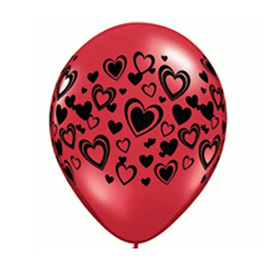 Hearts wrap latex balloon x 1