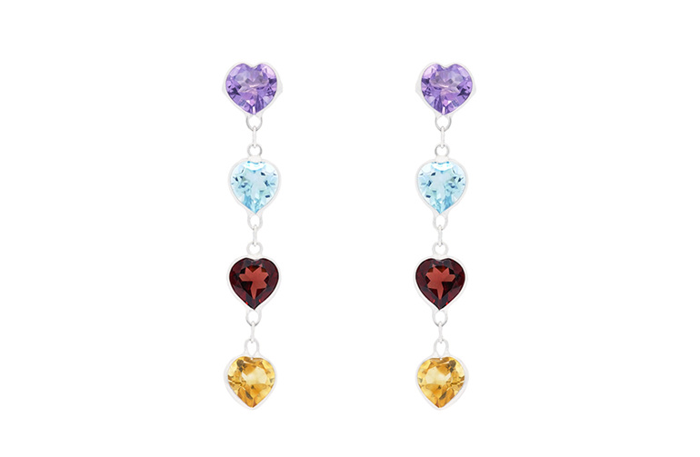 Heartshaped coloured gemstone earrings in 18ct white gold