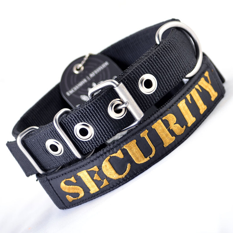 Heavy Duty Black Nylon Dog Collar with Security Embroidery