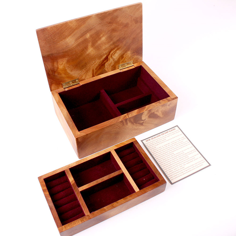 heirloom jewellery box - large with tray - ancient kauri