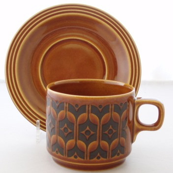 Heirloom pattern cup and saucer