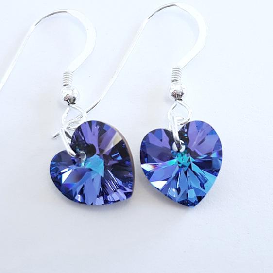 Heliotrope coloured crystal earrings