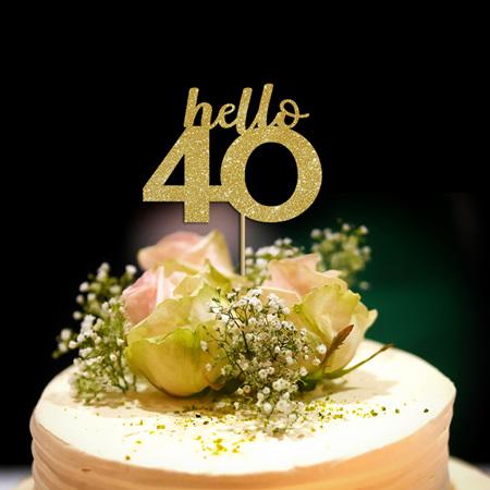 Hello 40 Cake Topper