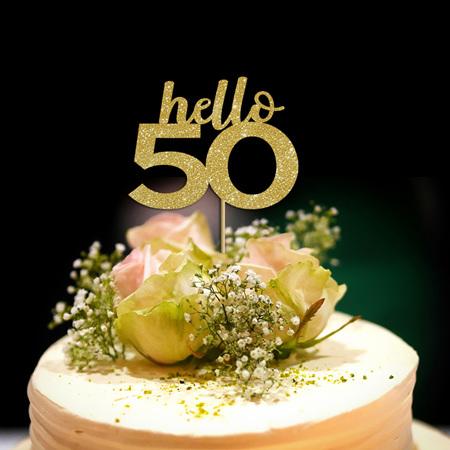 Hello 50 Cake Topper