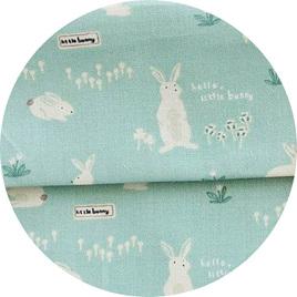 """Hello Bunny"", Mint, 100% Cotton"