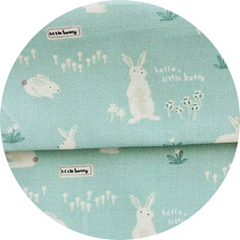 """Hello Bunny"", Mint, 100% Cotton"