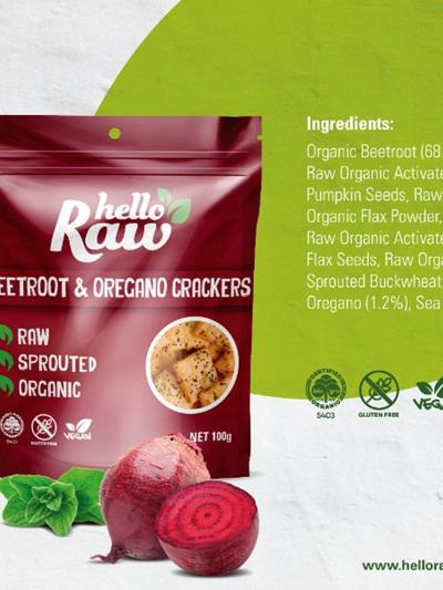 Hello Raw Crackers (Beetroot/Oregano) - 100g