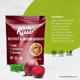 Hello Raw Crackers (Beetroot/Oregano) - 100g