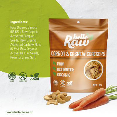 Hello Raw Crackers (Carrot/Cashew) - 100g