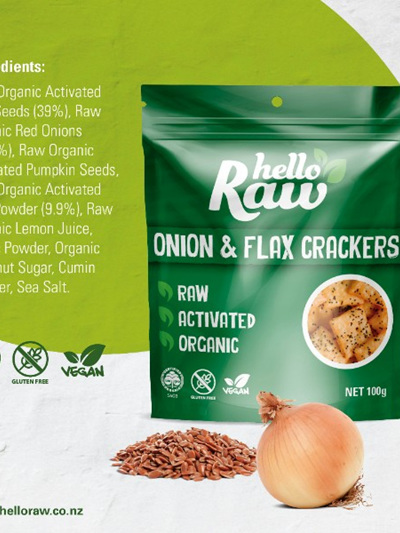 Hello Raw Crackers Onion & Flax 100g