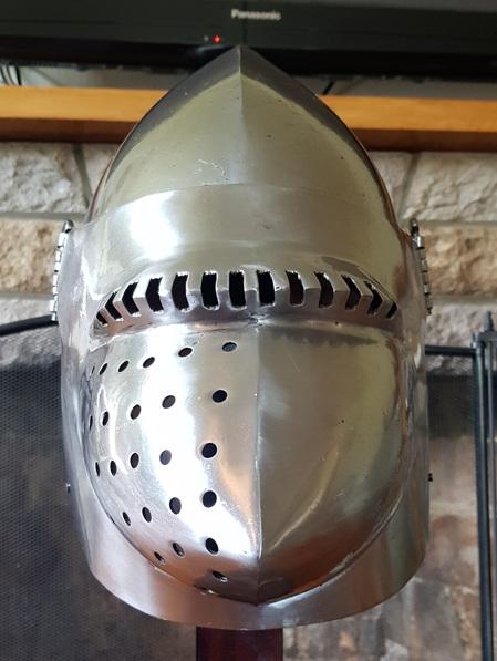 "Helmet 16 - 14th Century Bascinet with  ""Pig Faced"" Visor"