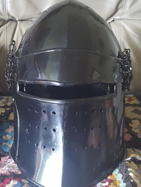 Helmet 17 - 14th Century Visored Bascinet with Plow Faced Visor