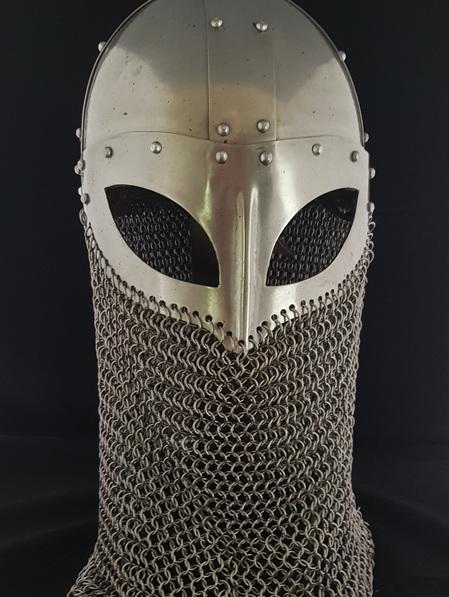 Helmet 3 - Vendel Helmet with butted spring steel Camail