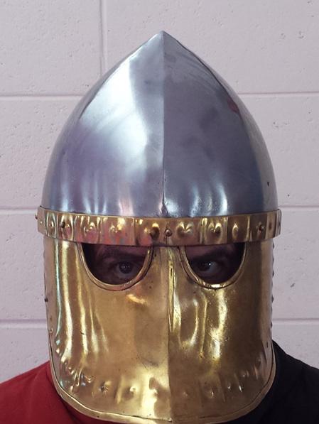 Helmet 6A - 12th Century Italo-Norman Helmet with Brass Face Plate