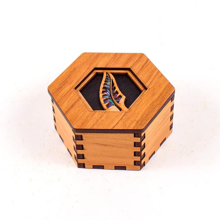 hex box with paua - fern