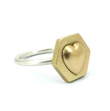 Hexagon Brass Heart Ring