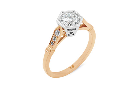 Hexagonal Setting and Deco Shoulder Diamond Solitaire Ring