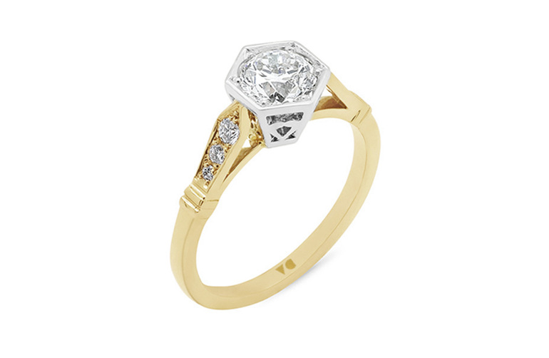 Hexagonal setting deco shoulders diamond solitaire in 18ct yellow gold and plat
