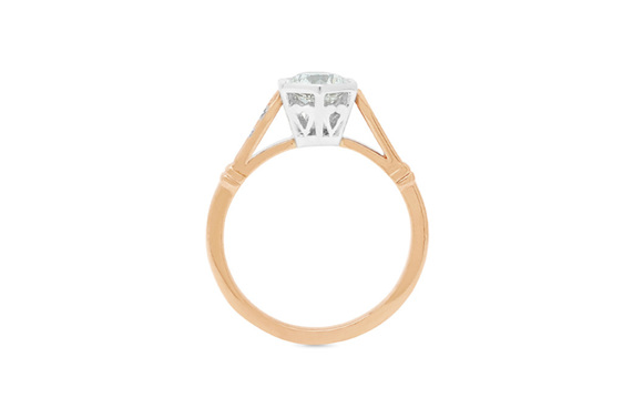 Hexagonal setting, deco shoulders, diamond solitaire in 18ct rose gold and plat