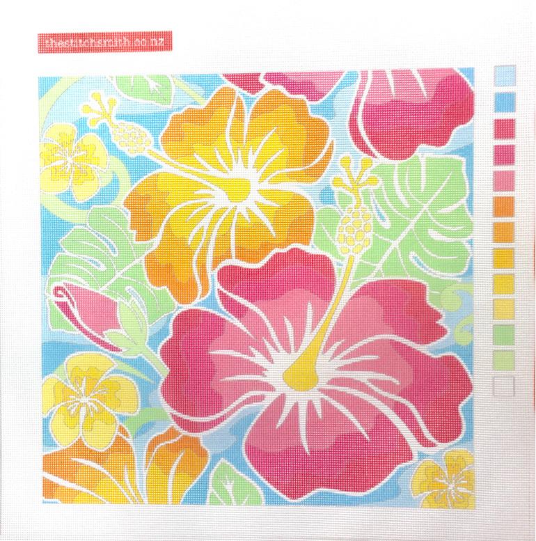 hibiscus needlepoint canvas