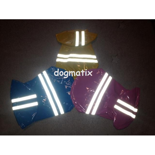 High visibility raincoats, three colours, blue pink and yellow