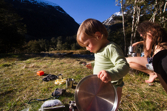 hiking cooking baby nz view outdoors