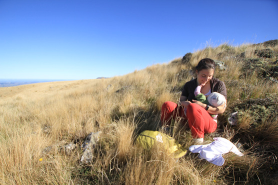 hiking tramping baby feeding food view nz
