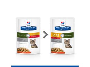 Hill's Prescription Diet c/d Urinary Stress Plus Metabolic Cat Food Pouches 12x85g