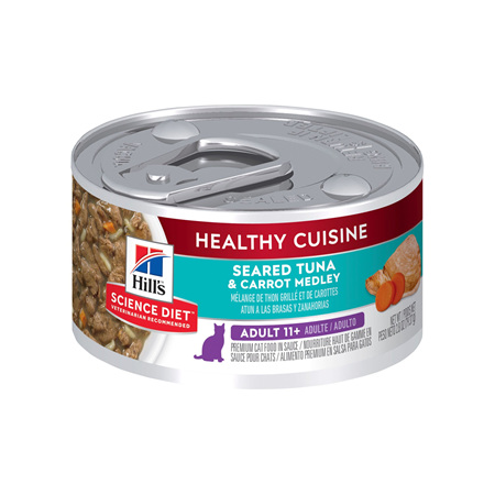 Hill's Science Diet Adult 11+ Healthy Cuisine Tuna & Carrot Medley Canned Cat Food, 79g, 24 Pack