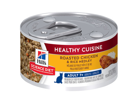 Hill's Science Diet Adult 7+ Healthy Cuisine Chicken & Rice Medley Canned Cat Food, 79g, 24 Pack