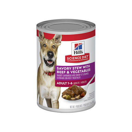 Hills Science Diet Adult Savory Stew Beef & Vegetables Canned Dog Food, 363g, 12 pack pack