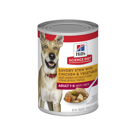 Hills Science Diet Adult Savory Stew Chicken & Vegetables Canned Dog Food, 363g, 12 pack