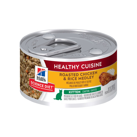 Hill's Science Diet Kitten Healthy Cuisine Chicken & Rice Medley Canned Cat Food, 79g, 24 Pack