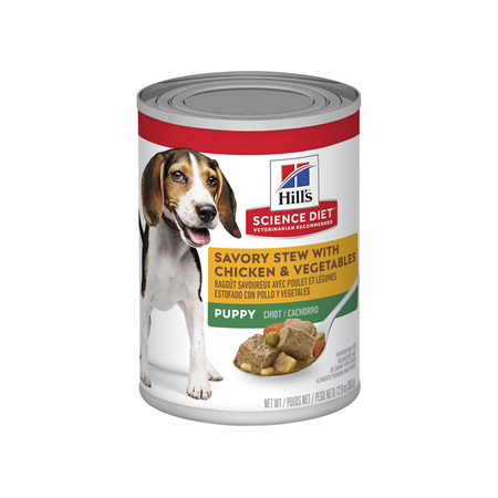 Hill's Science Diet Puppy Savory Stew Chicken & Vegetables Canned Dog Food, 363g, 12 pack