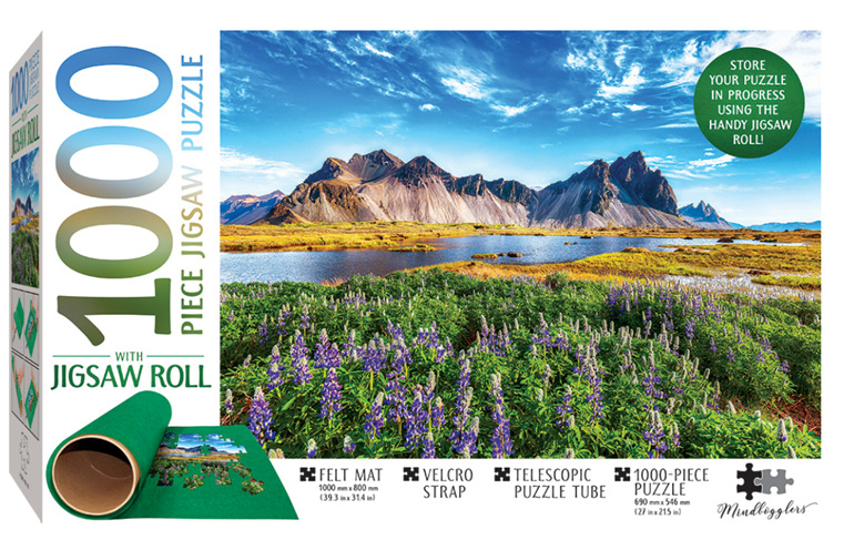 Hinkler 1000 piece puzzle Stokksnes Iceland & Puzzle Roll at www.puzzlesnz.co.nz