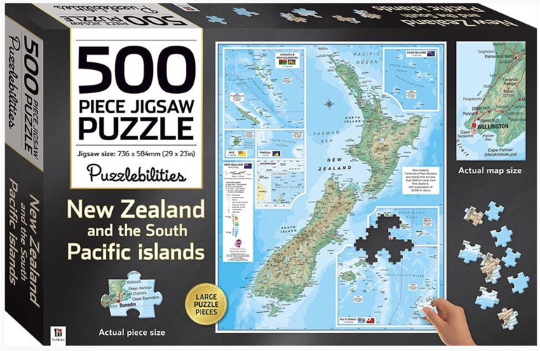 Hinkler 500 piece jigsaw puzzleMap of  New Zealand buy at www.puzzlesnz.co.nz