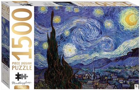 Hinkler Mindbogglers Gold 1500 Piece Jigsaw Puzzle: Starry Night by Van Gogh