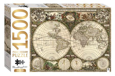 Hinkler Mindbogglers Gold 1500 Piece Jigsaw Puzzle: Vintage World Map