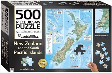 Hinkler Puzzlebilities 500 Piece Jigsaw Puzzle  New Zealand Map