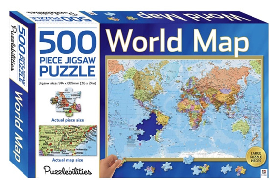 Hinkler Puzzlebilities World Map 500 Piece Jigsaw Puzzle at www.puzzlesnz.co.nz