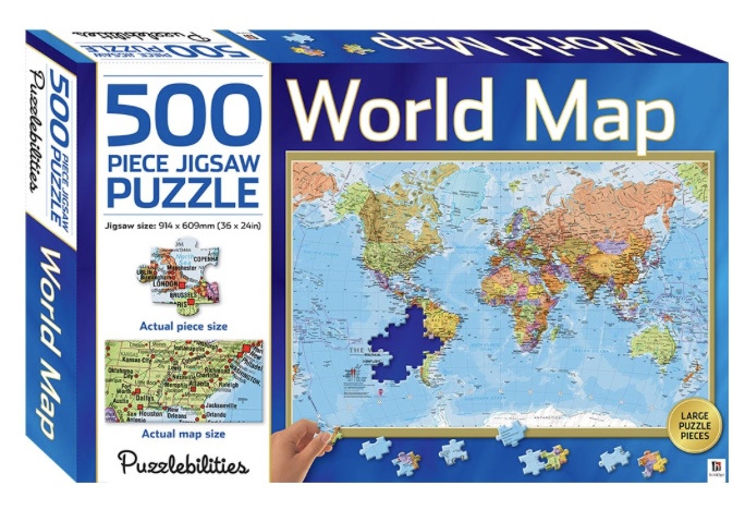 Hinkler puzzlebilities world map 500 piece jigsaw puzzle puzzlesnz hinkler puzzlebilities world map 500 piece jigsaw puzzle at puzzlesnz gumiabroncs Image collections