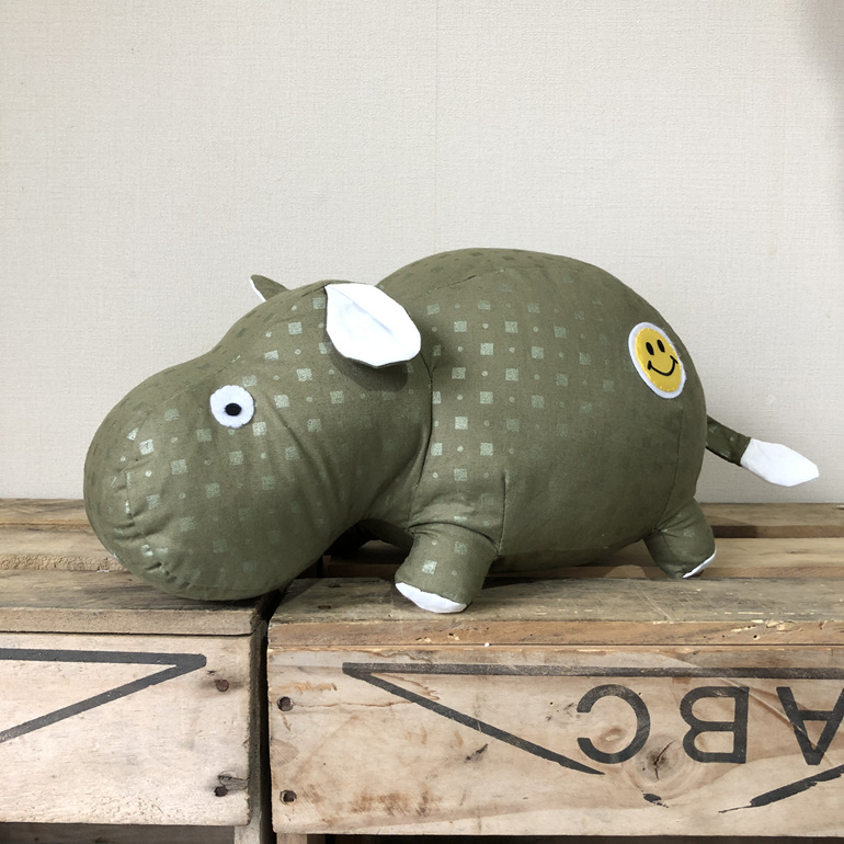 Hippo - Green with Smiley face