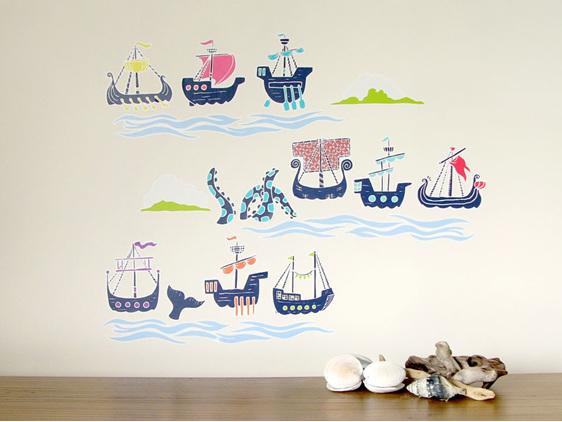 Historic sailing ships wall decal