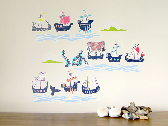 Historic sailing ships wall decal