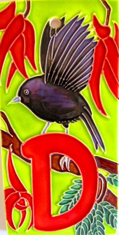 HND Letter  'D' black robin
